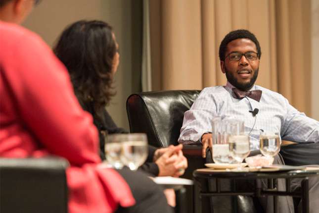 Fourth year medical student, Lawrence Benjamin, participating in a panel discussion, offers his perspective on diversity and inclusion during the 2016 Day of Discovery & Dialogue at Washington University.
